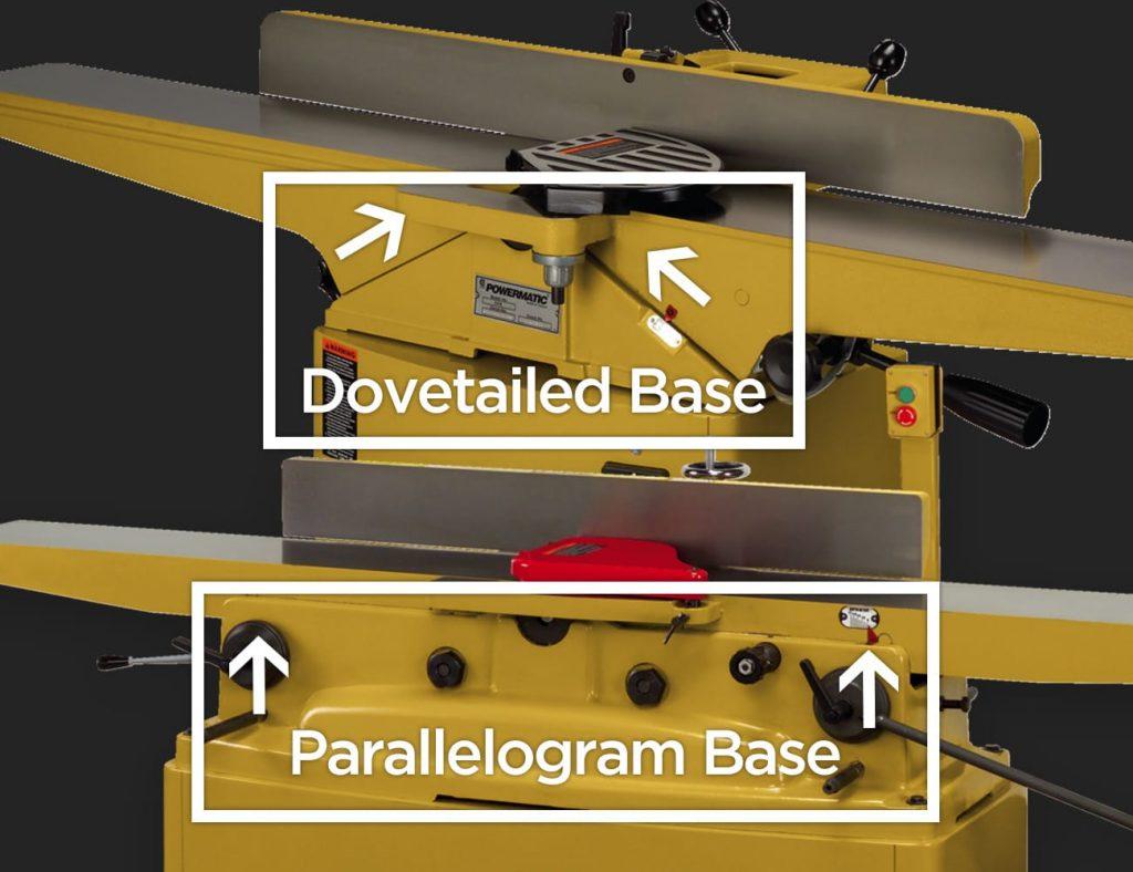 Powermatic Jointers Dovetail vs Parallelogram Base Illustration