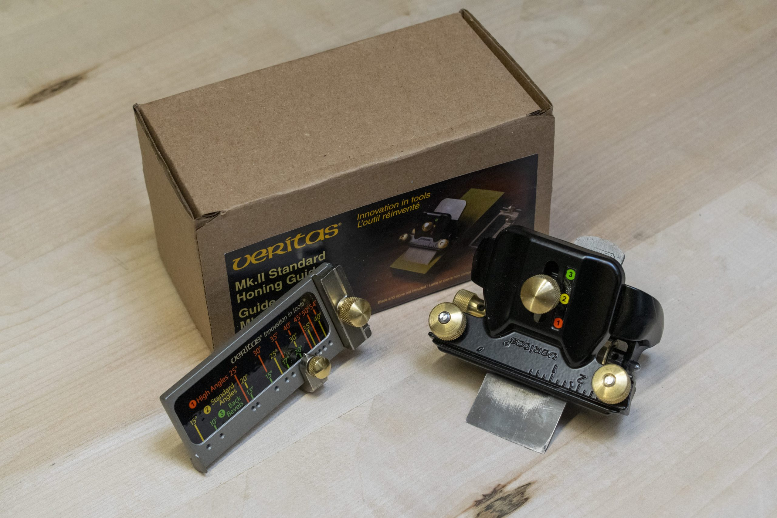 Veritas Mk II Honing Guide Box and Contents