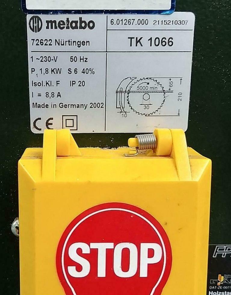 Metabo TK 1066 Table Saw Plate Info